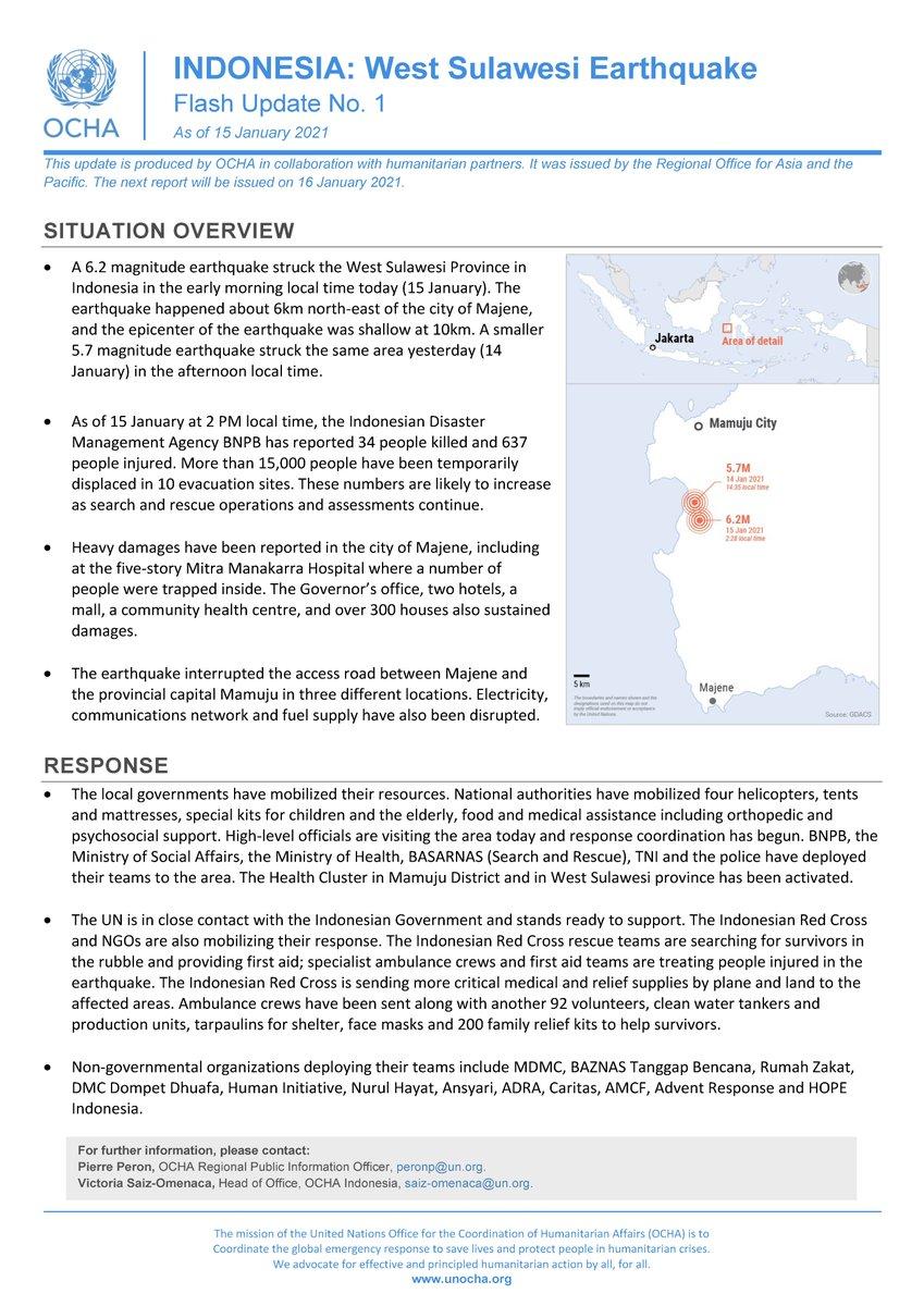 .@UNOCHA melder nå at minst 35 er drept i jordskjelvet som rammet #Indonesia i dag. https://t.co/6fGXUmDWTZ