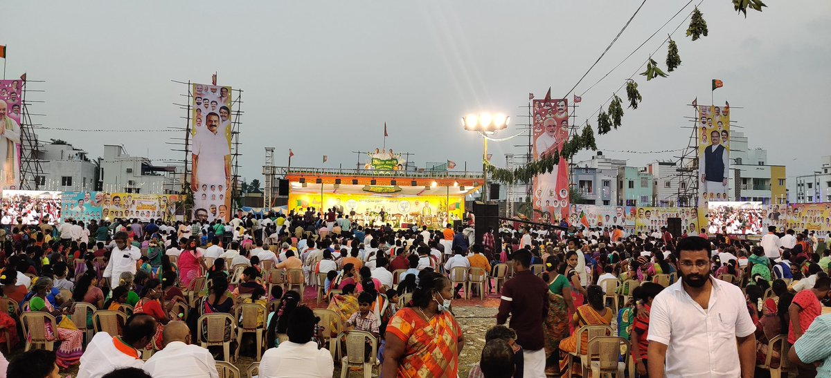 #NammaOoruPongal   #WelcomeNaddaJi Massive crowd over there for Welcoming the National President Shri @JPNadda  ji @blsanthosh @CTRavi_BJP @ReddySudhakar21  @KesavaVinayakan @bjp_krishna74  @KumarTN03
