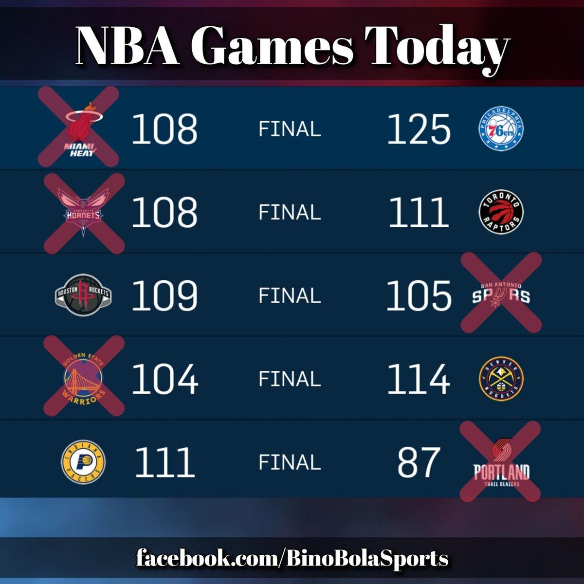NBA games today! #RegularSeason #Day23 #BinoBolaSports #Scores
