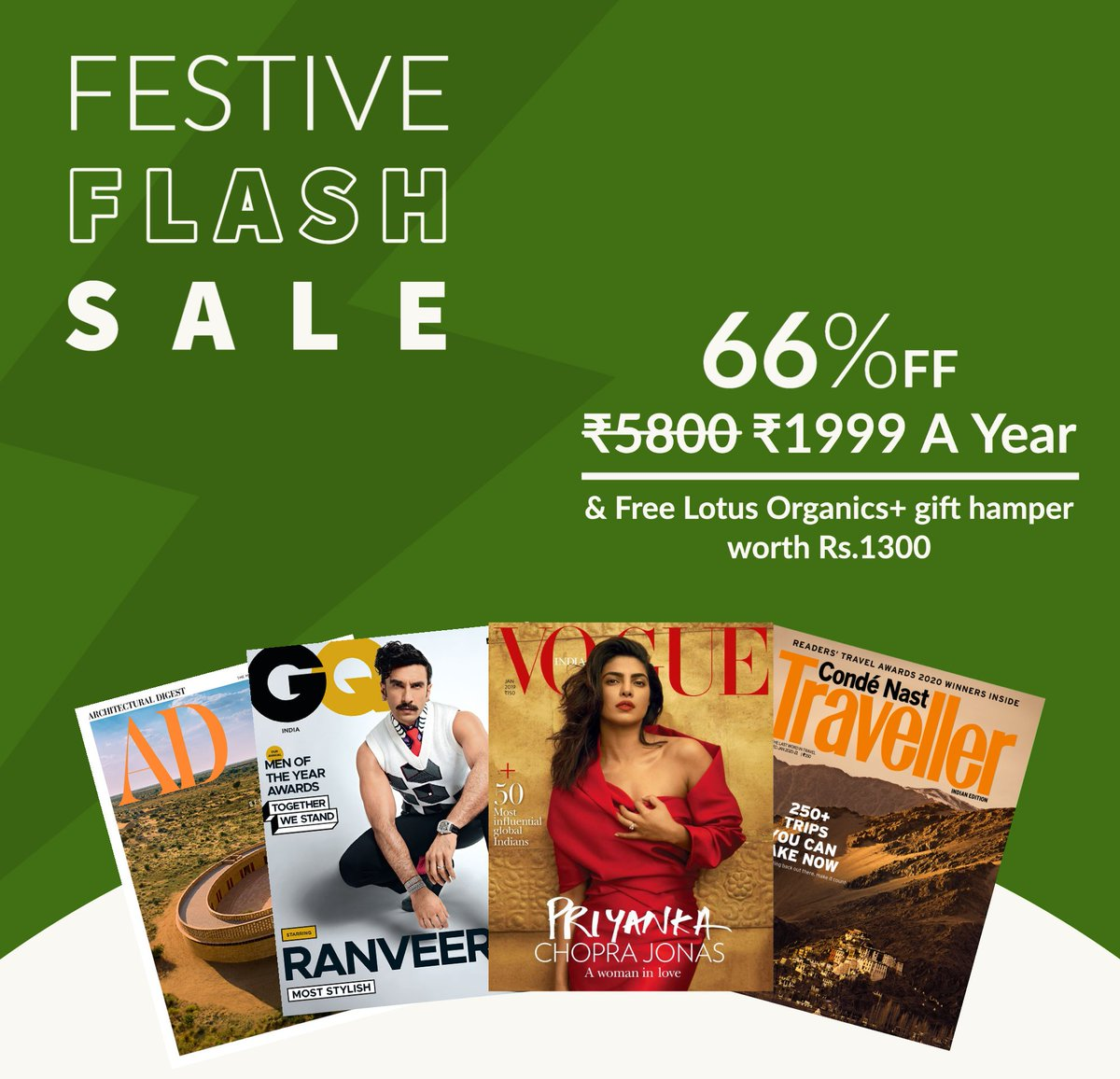 Don't miss out on our limited period Festive Sale. Get 66% off on our annual combo subscription + a free Lotus Organics+ gift hamper worth Rs.1300. Click on the link to subscribe now.