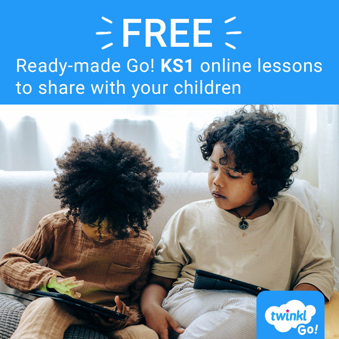 FREE pre-made KS1 Twinkl Go! lessons to share with your children. Go to , use the PIN JB0654 plus these usernames & passwords: Y1 - FAN42  Y2 - CORN34 #edutwitter #KS1 #remotelearning