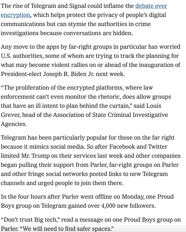"""The 3 journalistic units most devoted to demanding online censorship are CNN's media reporters, NBC's """"disinformation team,"""" and NYT's tech reporters.   Here's the latter laying the groundwork for making encrypted apps Signal & Telegram the next targets:"""