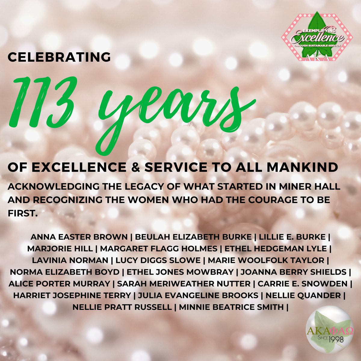 Happy Founders' Day to Alpha Kappa Alpha Sorority, Incorporated! Celebrating 113 Years of Excellence & Service to All Mankind. We pay homage to our Founders and salute their strength and courage to be women of firsts. #akapao #AKA1908 #J15 #thecouragetobefirst