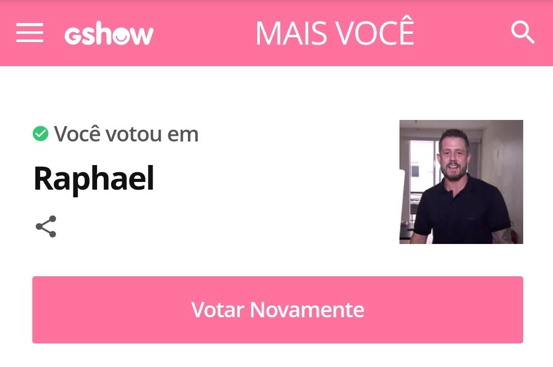 Meu voto no site é do Raphael. #jogodepanelas #MaisVoce