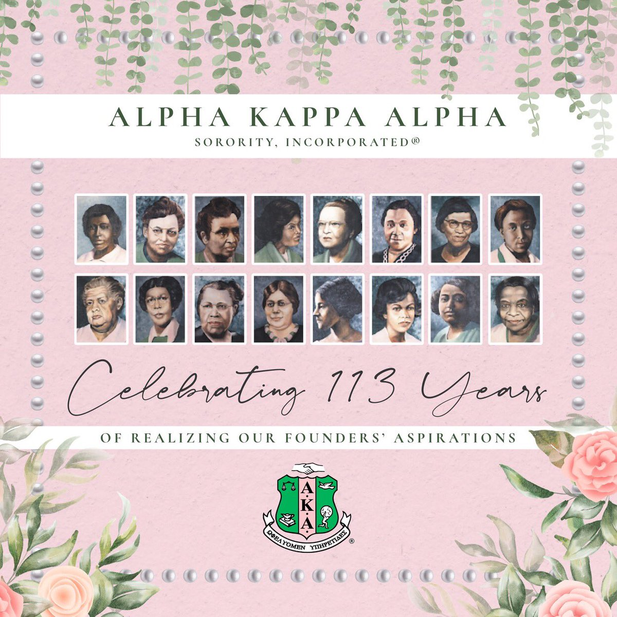Celebrating 113 years of excellence, scholarship, and service to mankind,  Happy Founder's Day to my sisters of Alpha Kappa Alpha Sorority, Incorporated! 💕💚 #AKA1908 #FoundersDay #J15