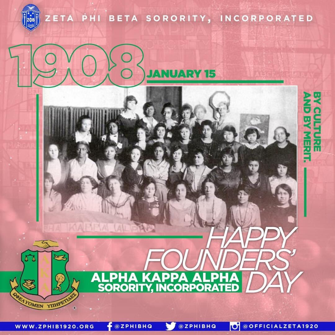 Happy Founders' Day to the women of Alpha Kappa Alpha Sorority, Incorporated #AlphaKappaAlpha #AKA1908 #ZetaPhiBeta #ZPhiB1920