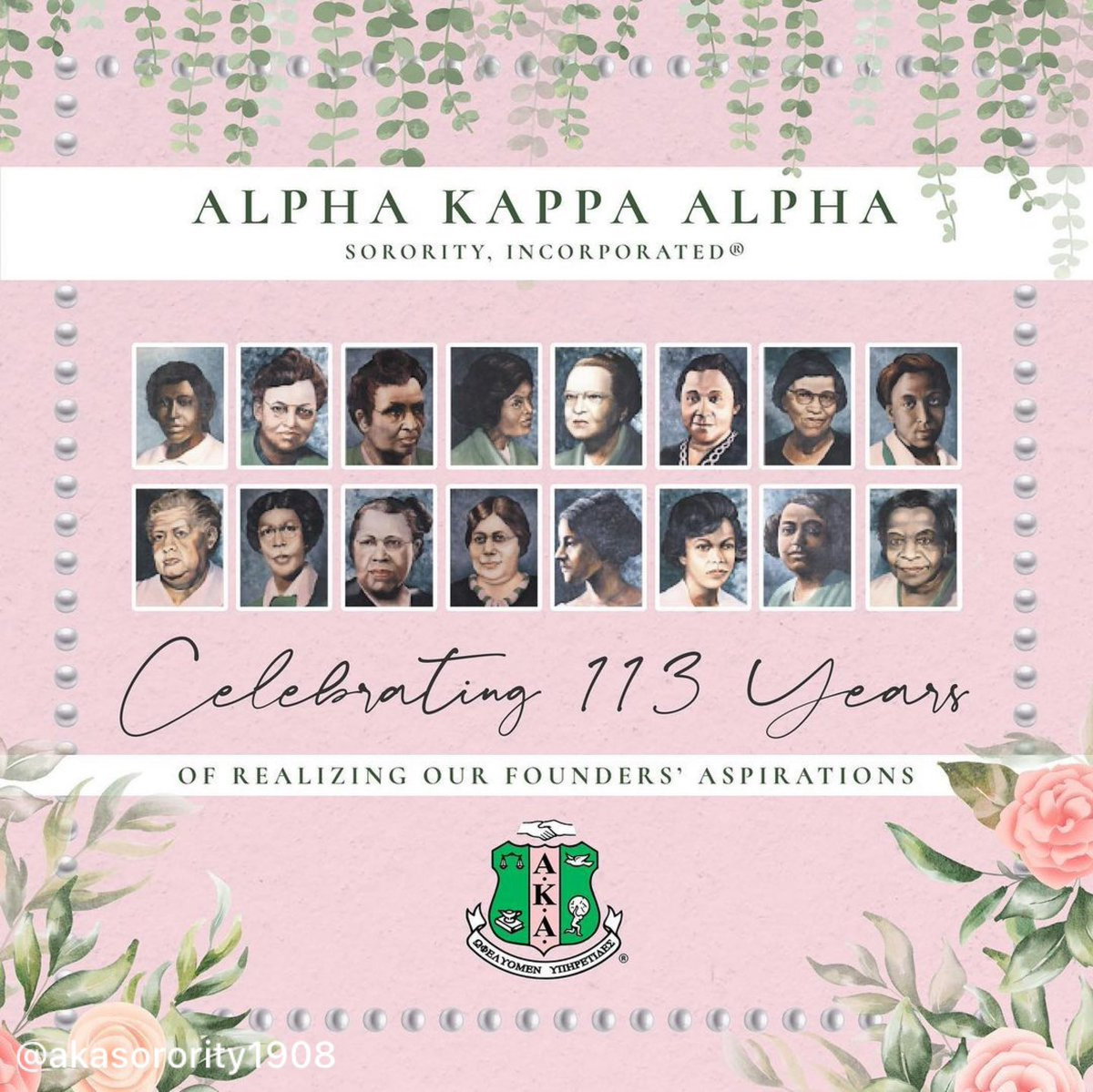 #Repost @akasorority1908  Happy Founders' Day to the Ladies of Alpha Kappa Alpha Sorority, Incorporated! We proudly celebrate 113 years of sisterhood and service, as we pay homage to the Founders' of our illustrious organization. #AKA1908 #AKA113 #AKAFoundersDay 💗💚