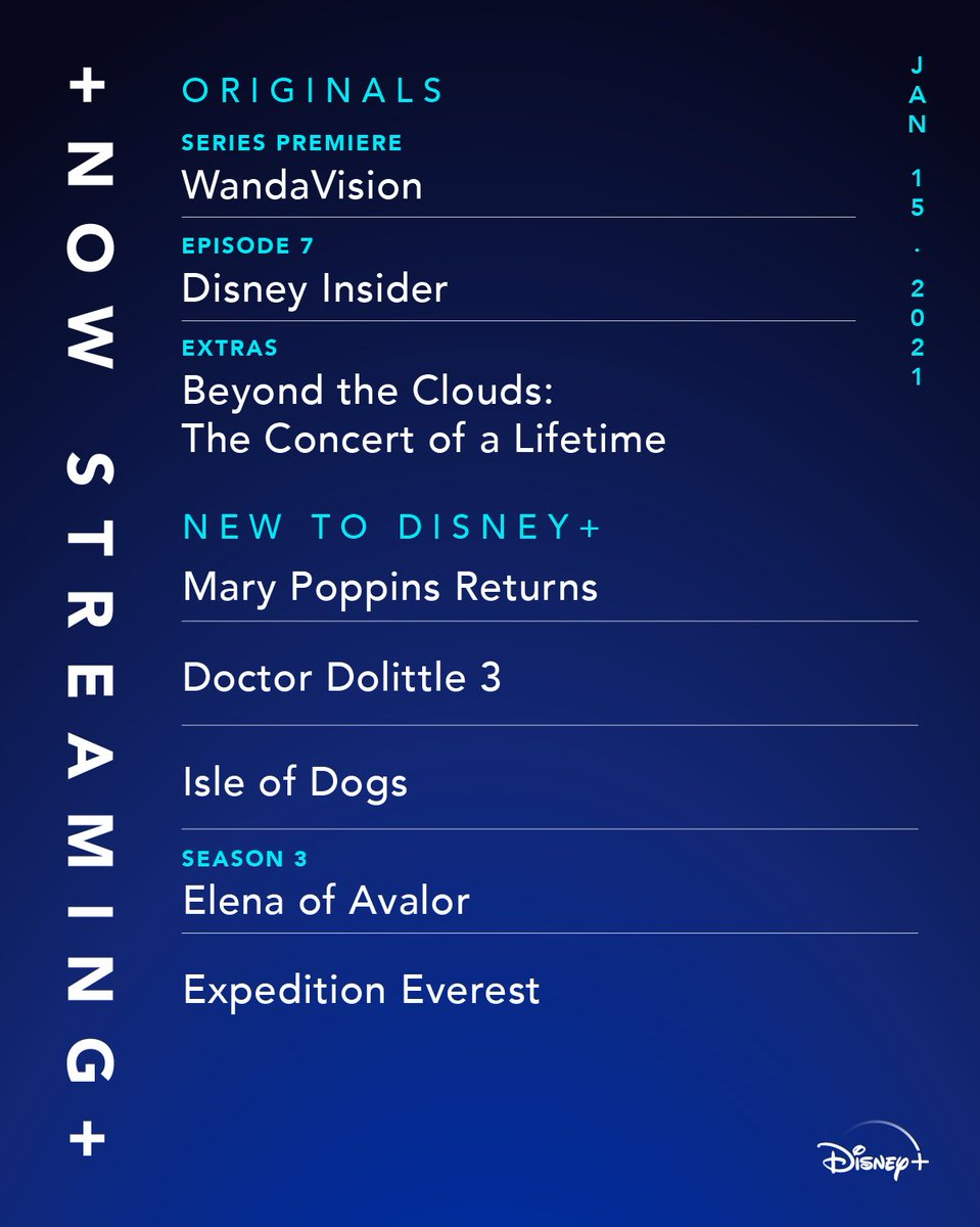 Here's what we enVISION for the weekend📺🌀 The first two episodes of Marvel Studios' @WandaVision, Doctor Dolittle 3, and Mary Poppins Returns are now streaming on #DisneyPlus