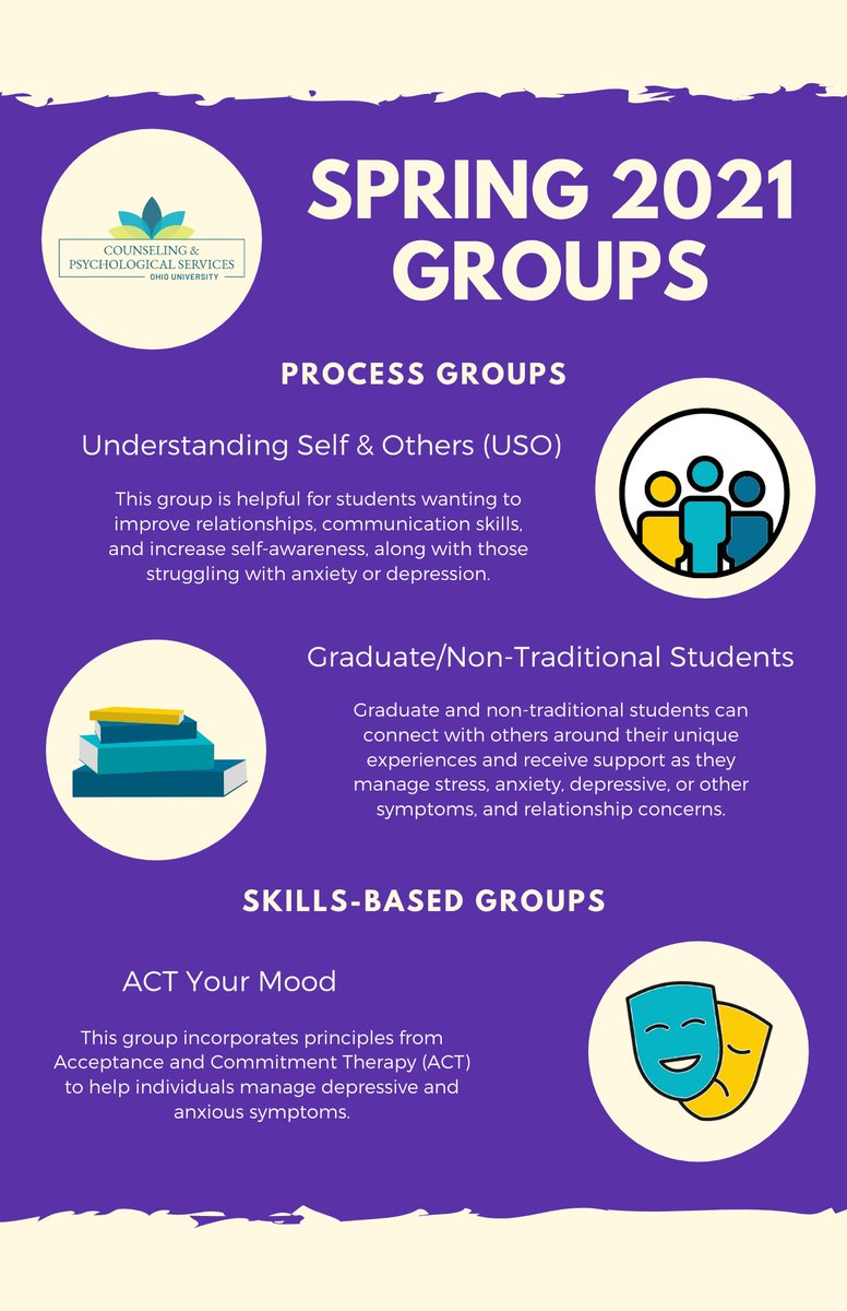With the start of the semester means that it's time to start promoting our Spring 2021 groups!! We can't say enough about the benefits of joining a group!  Call us at 740-593-1616 to find out more information. 📱📞 https://t.co/eXhCZg5Bt5