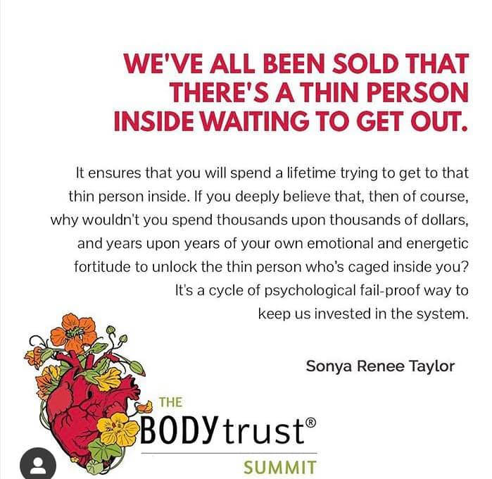 Image via @thebodytrustsummit. The system screws with us on such a deep level, sometimes it's hard to recognise that those toxic thoughts aren't our own. #support #selfcare #ed #edfamily #prorecovery #fighter