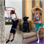 #FridayMotivation Pupils have been enjoying fitness sessions as part of their #remotelearning curriculum, just like they usually would. Here's William, (Year 5) perfecting his slam dunk and Sam, (Year 8) holding a yoga pose with his dog looking on. Happy Friday everyone! 😄💪