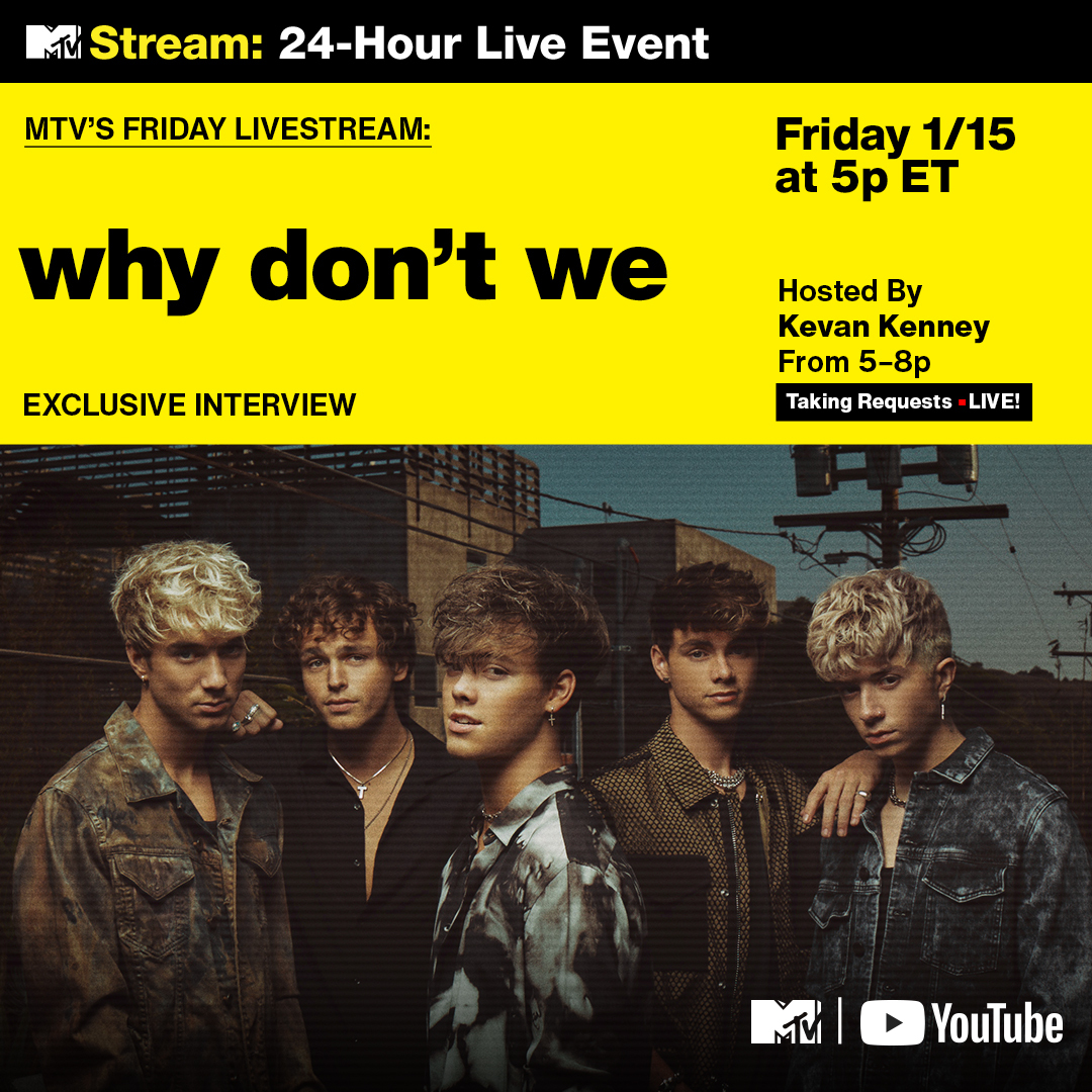🚨 @whydontwemusic is TAKING OVER tonight's #FridayLivestream!   Head to MTV's YouTube now for an exclusive WDW interview, *plus* @Olivia_Rodrigo gets featured for PUSH: ON THE RADAR: