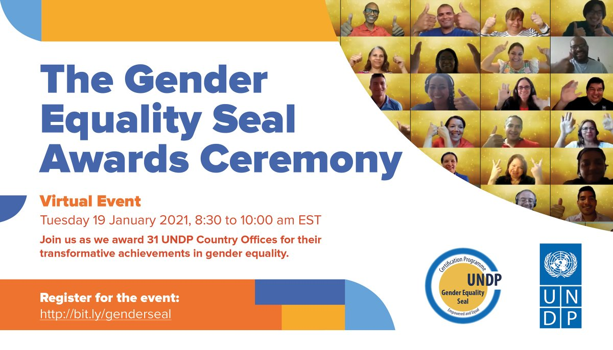 .@UNDP has been walking the talk on #GenderEquality for over a decade through our innovative #GenderSeal programme. Join us on 19 January at 8:30am EST as we celebrate the UNDP awardees making a difference in creating a more gender equal world. RSVP at: