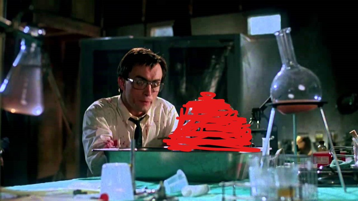 Re-Animator (1985): The censored version. (I had to delete my original tweet with these pics because someone thought they were too gory)
