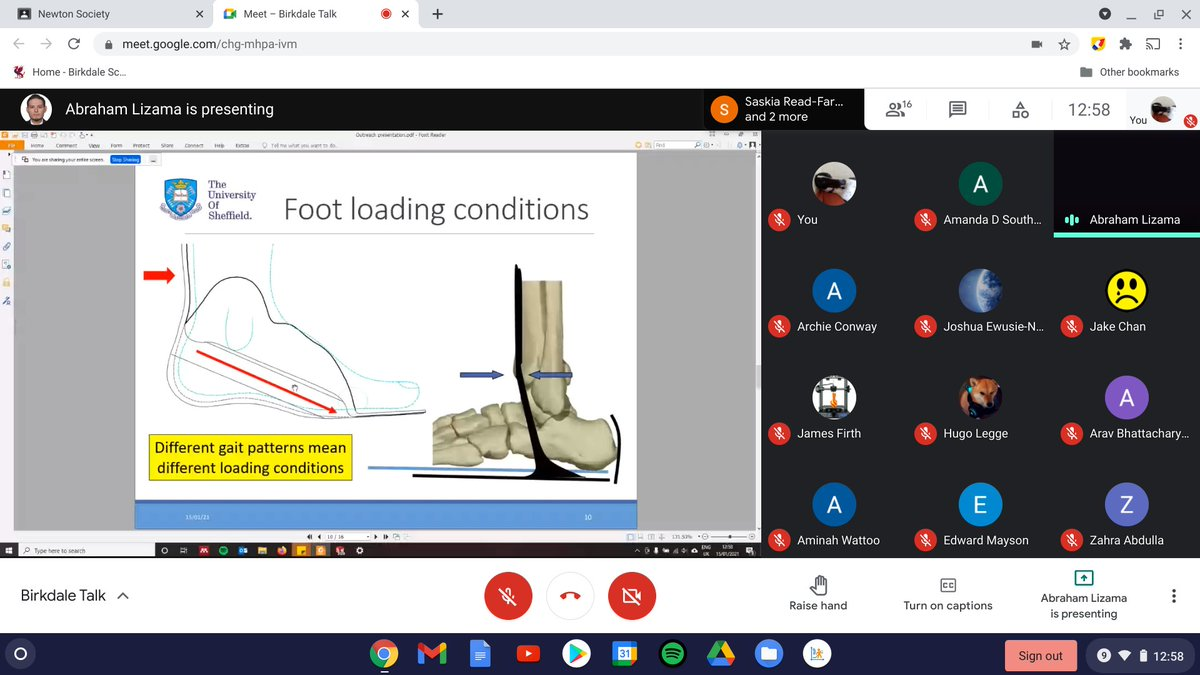 Newton Society continues remotely for S5-U6 students, this week we were treated to an excellent talk by Dr Abraham Lizama from the Uni of Sheffield Dept of Materials Science and Engineering, about the use of composite materials for the correction of foot drop. #STEM @msesheffield