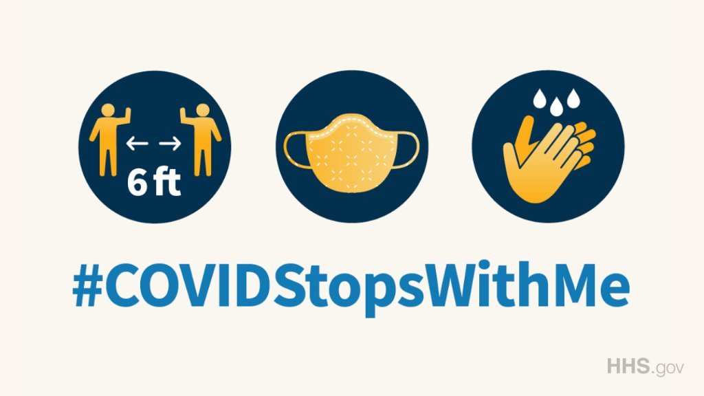 Continue social distancing, wearing a face covering, and washing your hands frequently to help protect yourself and others around you from #COVID19. Learn more: hhs.gov/coronavirus. #COVIDStopsWithMe