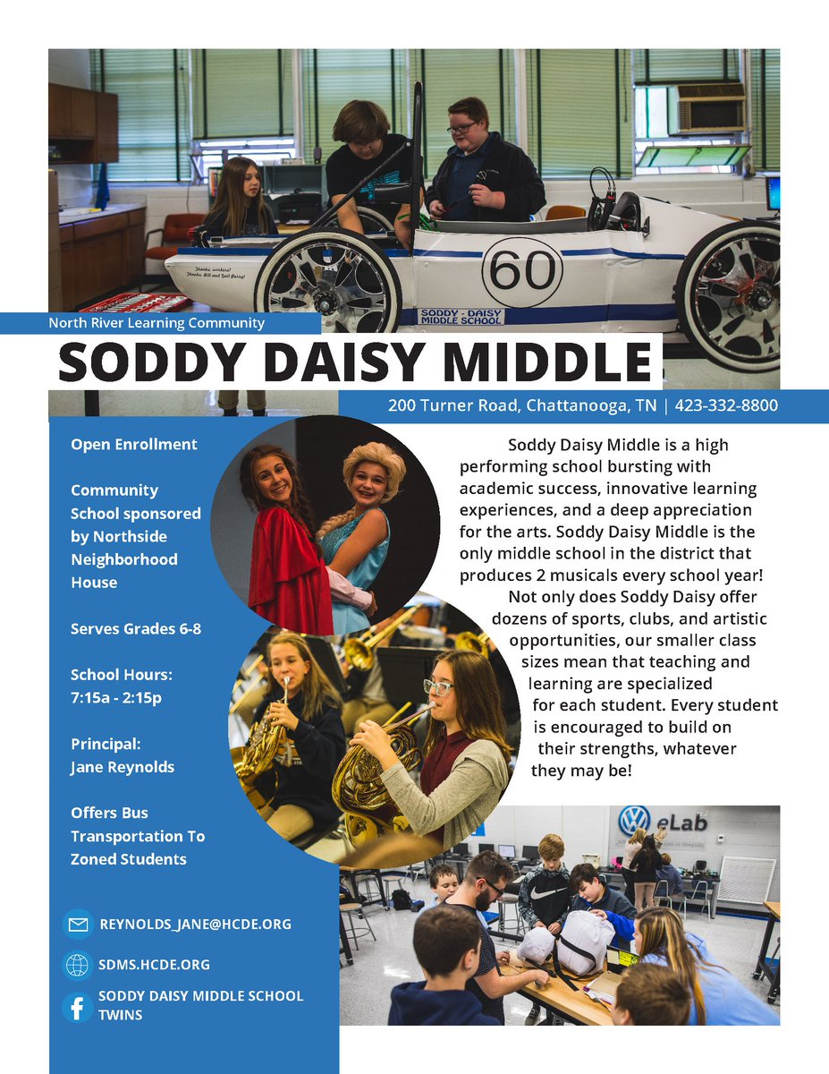 Today's #ChooseHamilton school spotlight is Soddy Daisy Middle, a high performing school bursting with academic success, innovative learning experiences, and a deep appreciation for the arts.  The deadline to apply is Jan. 31. Learn more and apply at .