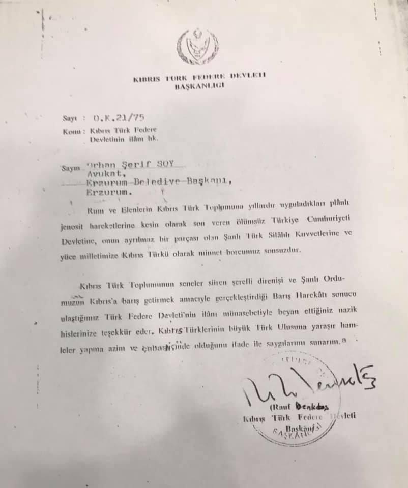 Rauf Denktaş'ın dönemin Belediye Başkanı Orhan Şerif Soy'a gönderdiği teşekkür mektubu 📑 https://t.co/hXWaYZ74gu