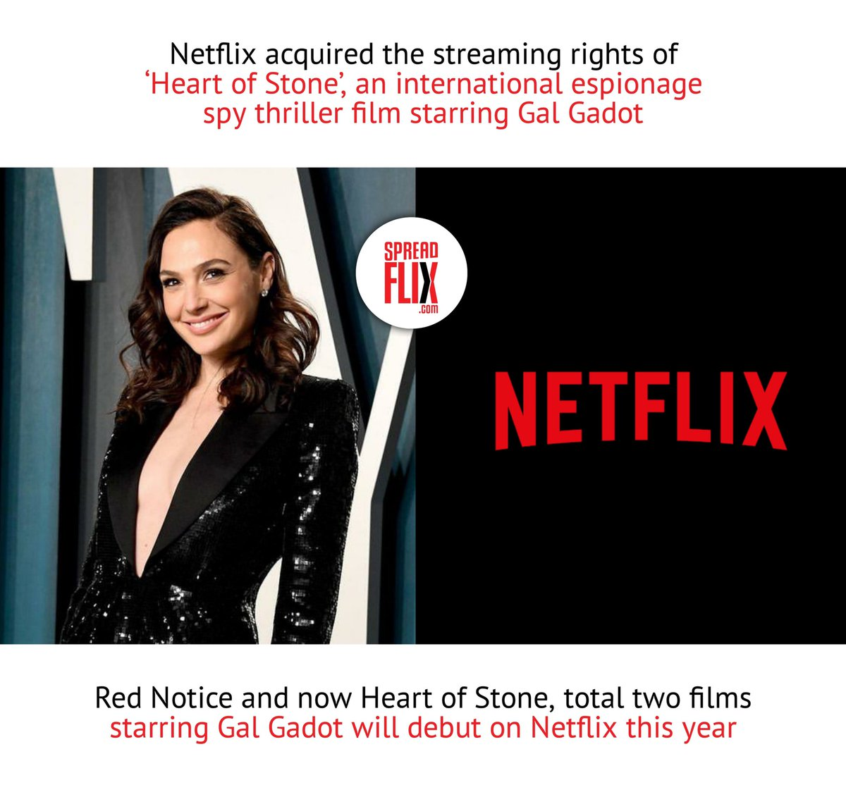 #RedNotice and #HeartOfStone, total two films starring #GalGadot will debut on Netflix this year.   image credits: Getty
