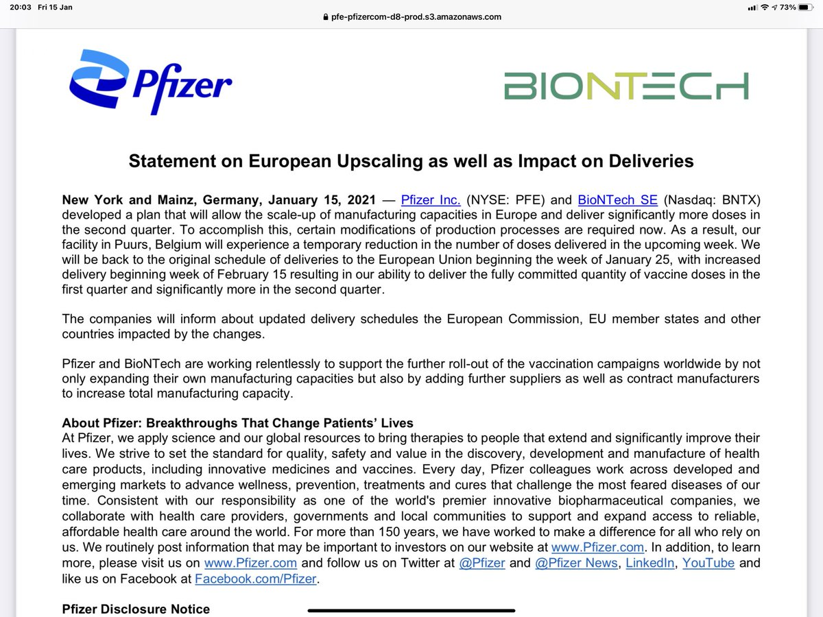 Statement from Pfizer/BioNTech on the temporary impact on deliveries of vaccine provoked by the scaling up of vaccine manufacturing in Europe.