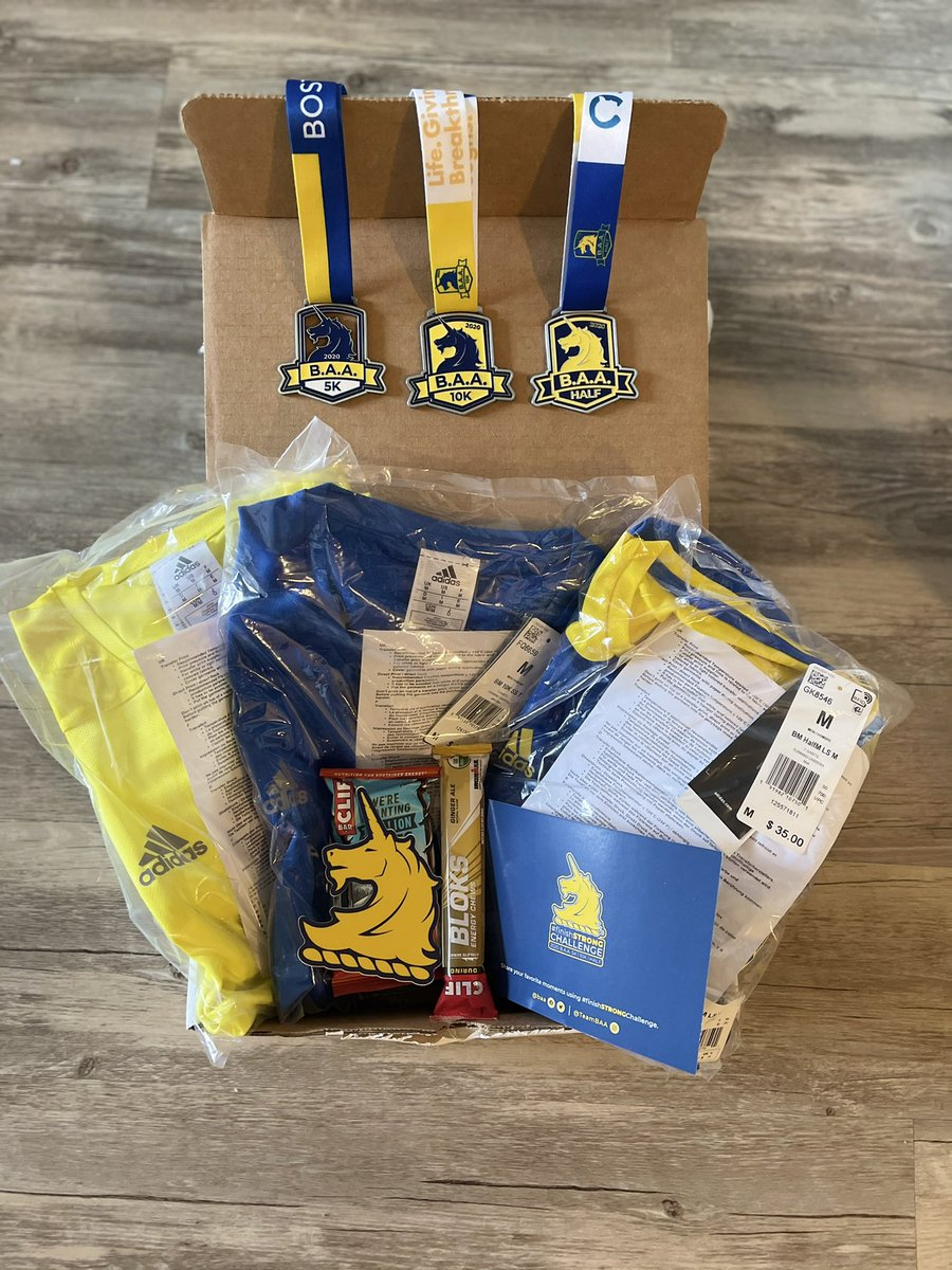"""My rewards for finishing the @BAA's #finishSTRONGChallenge! 💙💛  """"Racing is the fun part; it's the reward of all the hard work."""" - @karagoucher   #finishSTRONG"""