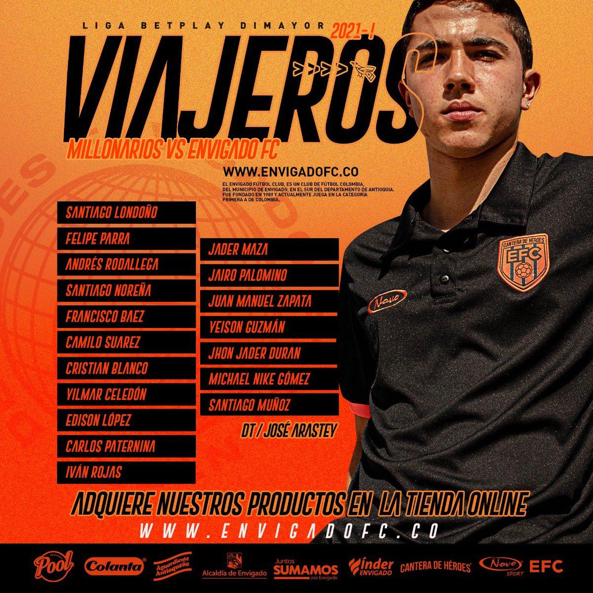 #EquipoProfesional ⚽️ Estos son los 18 convocados por José Arastey para el debut en la @LigaBetPlayD 2021-I 🆚 @MillosFCoficial   #VamosEnvigado 🍊 #CanteraDeHéroes • https://t.co/8Mfzmj7GoT https://t.co/sb6MB7GHgc
