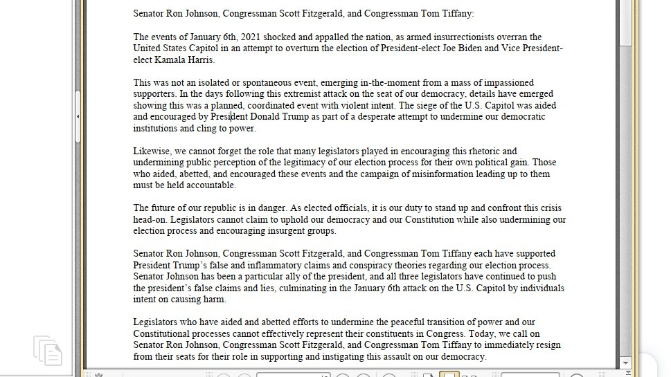 NEW: Fourteen Wisconsin Dems. (including @RepGreta, @SenChrisLarson, @FrancescaHongWI, @Jbrostoff) call for Tom Tiffany, Ron Johnson and Scott Fitzgerald (who won in the election he wanted to vote to pause/overturn in Trump's favor) to resign.