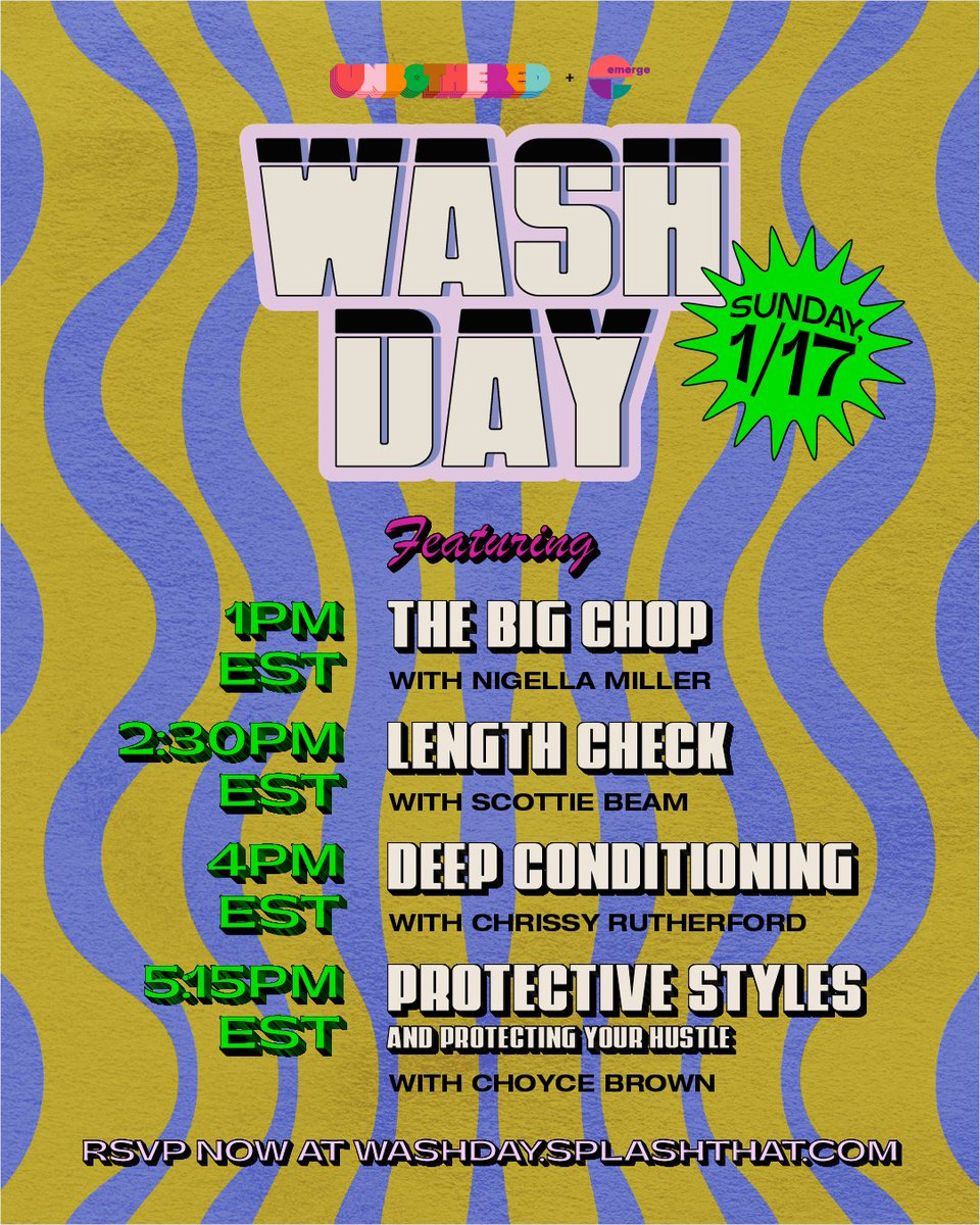 Join #R29Unbothered this Sunday, January 17 for WASH DAY — a day of tutorials, conversations and workshops featuring @chrissyford @ScottieBeam @choycebrown and more ✨ RSVP here: