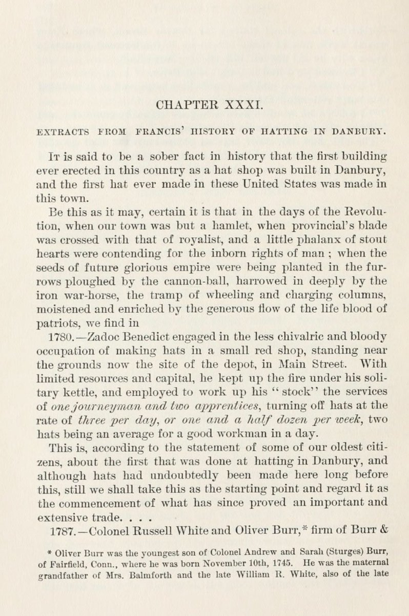 "And for the early days of Danbury's hatting industry... Chapter 31 of James Montgomery Bailey's ""History of Danbury"" is the place to start.  #NationalHatDay #HatCityHistory"