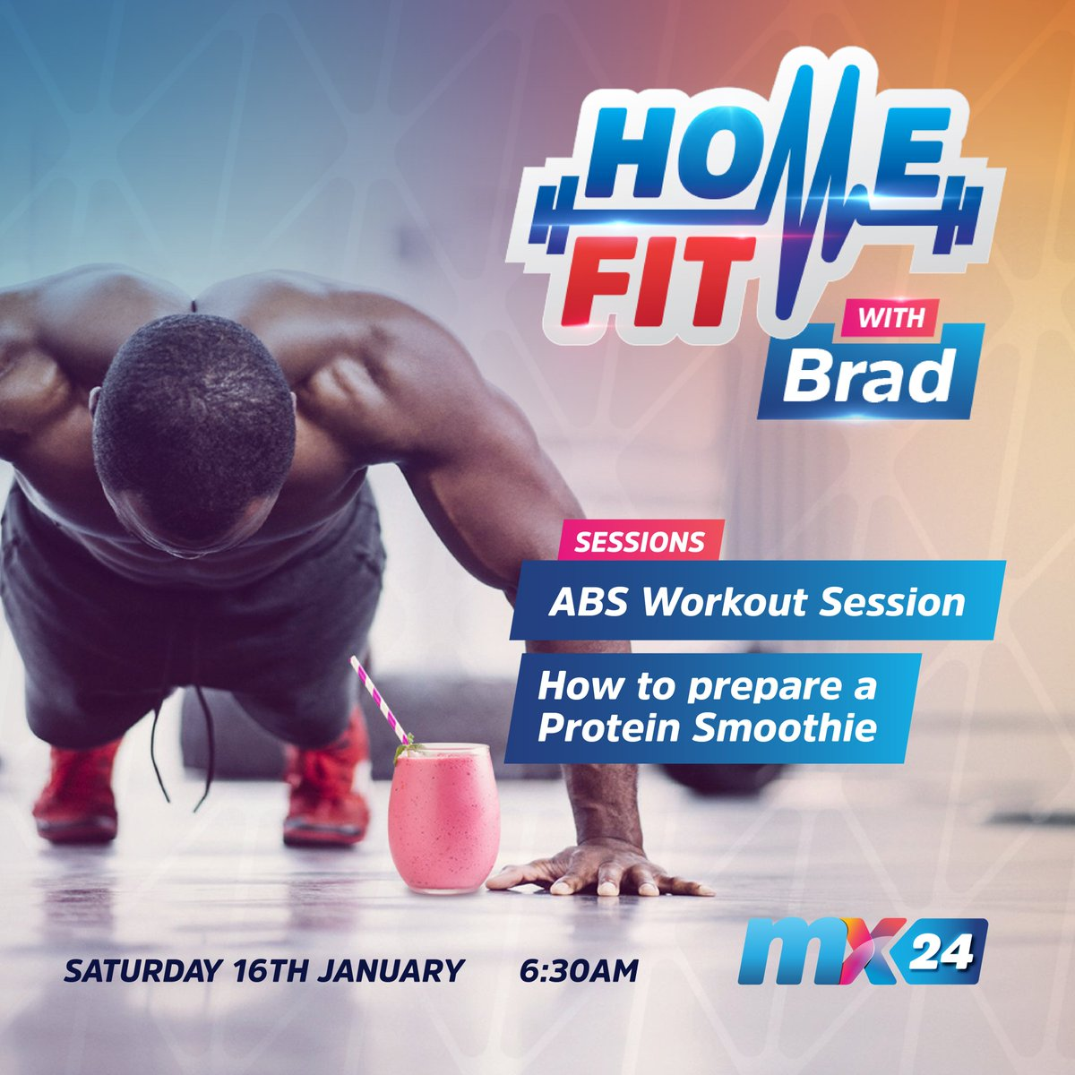 Join Brad on #HomeFit tomorrow Saturday at 6:30am for all your fitness and health needs. We will work on the Abs and also learn how to prepare a protein smoothie. LET'S GET FIT TOGETHER.  #HomeFit #workout #healthy #fitness #mx24gh #funfearlessfactual