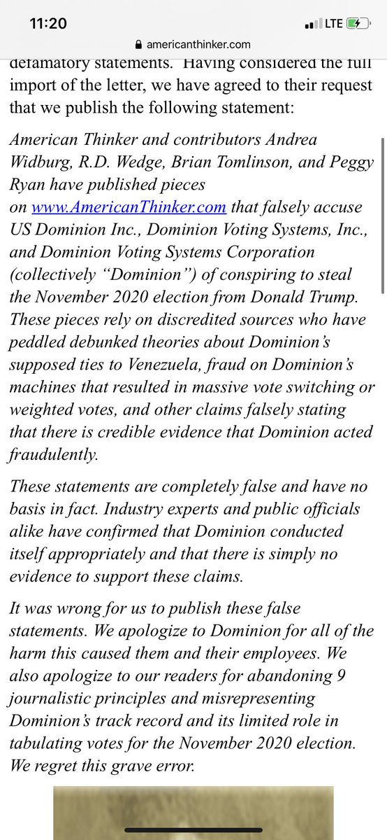 """.@amthinker NOW: """"It was wrong for us to publish these false statements...We also apologize to our readers for abandoning 9 journalistic principles & misrepresenting Dominion's track record & its limited role in tabulating votes for the...2020 election.We regret this grave error"""""""
