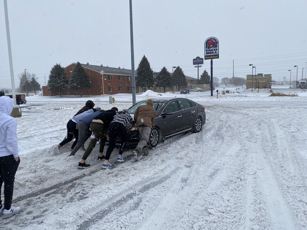 Big 3-2 OT win this morning.  Blizzard in Sioux City. Good samaritans on the way back to hotel from lunch.