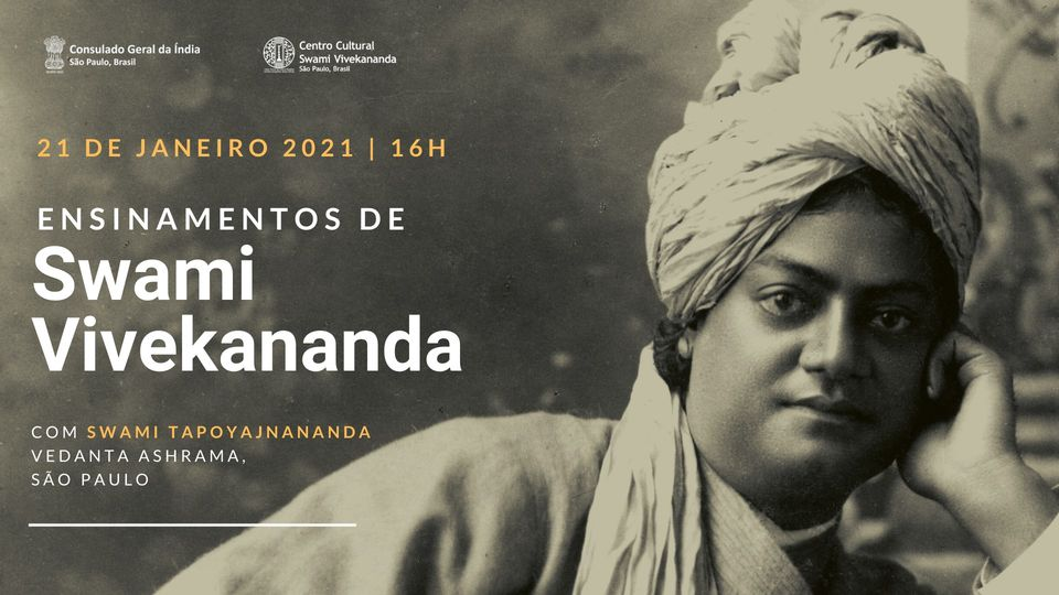 In celebration #SwamiVivekanandaJayanti we are delighted to invite you for a lecture by Swami Tapoyajnananda, from Ramakrishna Ashrama, São Paulo on 21 January at 4:00 pm. Live transmission of FB page at   #vedanta #Ramakrishna #NationalYouthDay