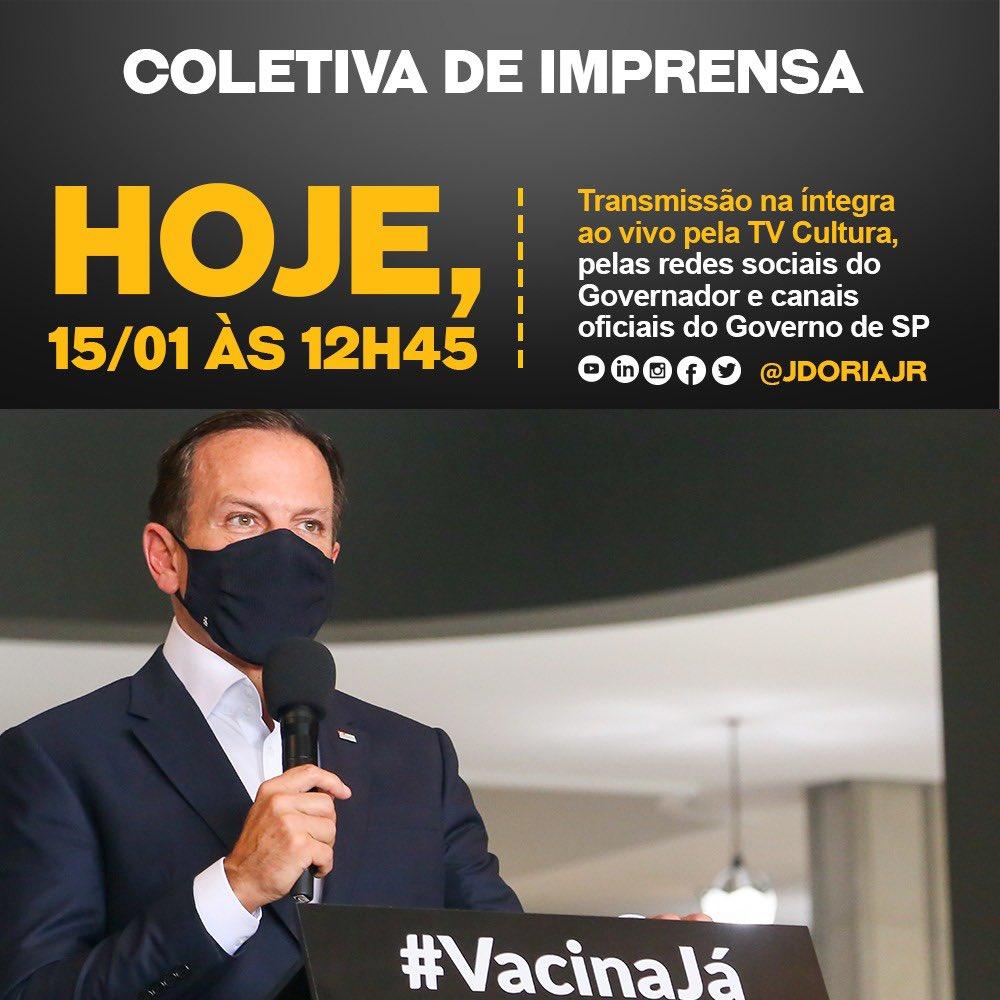 Acompanhe os anúncios de hoje ao vivo, a partir das 12H45, sobre a atualização do Plano São Paulo e combate à pandemia em nosso Estado. #Transparência #GovernoSP