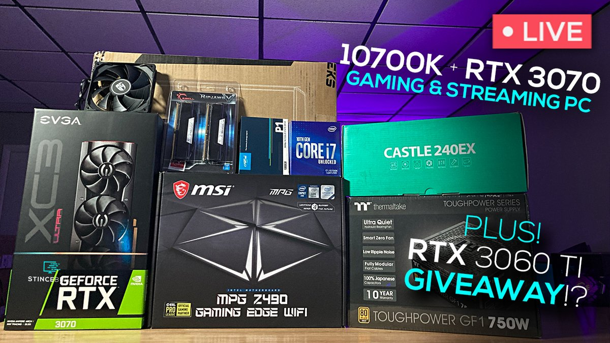 We're Live!!🔴🔴  Time for a Friday Build Stream + RTX Giveaway!?    Help us hit those @Twitch Views today!  So close to partner!