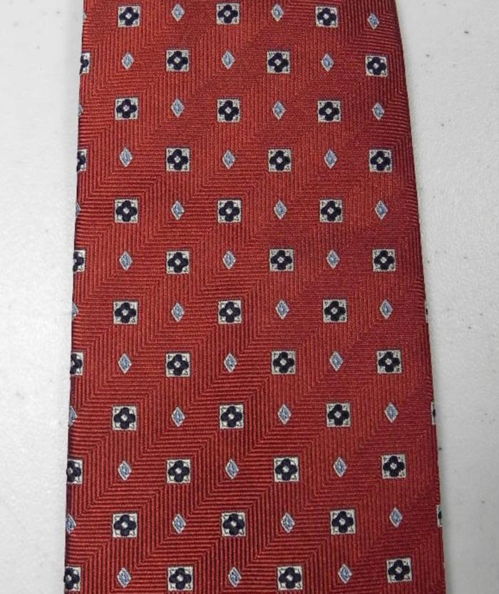 JOS A BANK Tie Necktie Quatrefoil Flower Diamond Brown Black Blue Silk XL  @eBay #shopsmall #Mensfashion