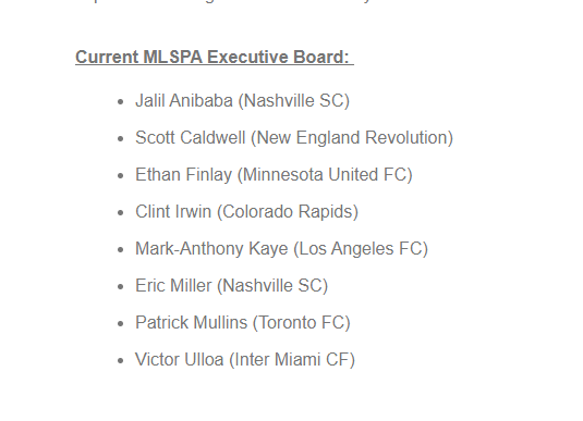 .@MLSPA announces that Victor Ulloa, Jalil Anibaba and Mark-Anthony Kaye have joined their executive board, with Jeff Larentowicz and Luis Robles leaving following their retirement. A 9th spot is currently vacant.