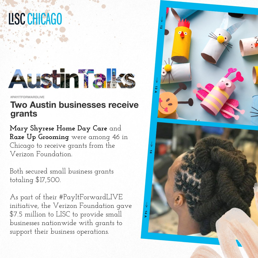 Congrats to Mary Shyrese Home Day Care and Raze Up Grooming in Austin for being selected as one of the @verizon #PayItForwardLIVE grant recipients!  Read more at .