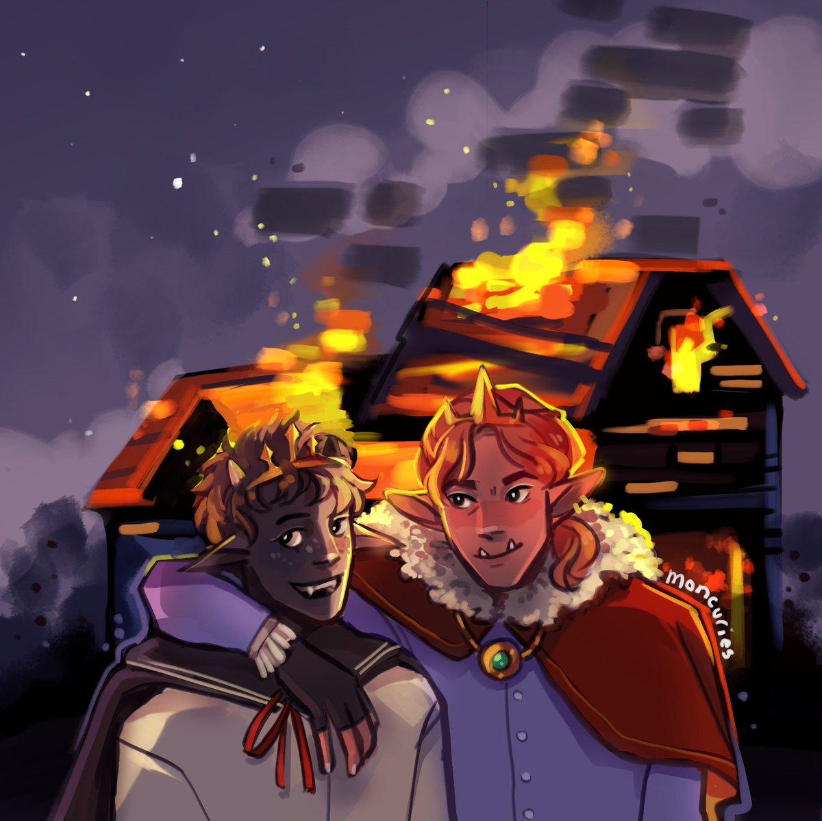 like a house on fire...! RT for all the work i put into this bg  [#ranboofanart #technofanart #sleepytwt ]