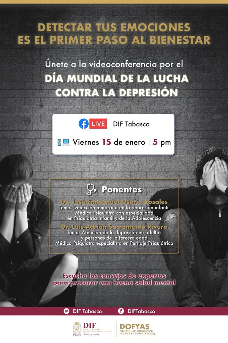 Detectar tus emociones es el primer paso al bienestar.  Únete a la videoconferencia por el Día Mundial de la Lucha contra la Depresión.  🗓Viernes 15 de Enero ⏰17:00 horas 💻https://t.co/sJLQzHyUIv 👨🏻⚕️Dr. José Emmanuel Osorio Rosales 👨🏻⚕️Dr. Luis Adrián Sacramento Rivero https://t.co/p8uWNRo0qZ
