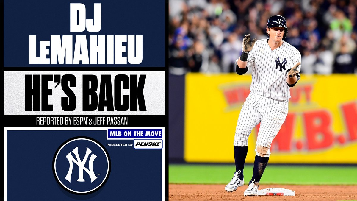 The hits keep playing in the Bronx.  DJ LeMahieu is reportedly returning to the @Yankees on a 6-year, $90 million deal, per @JeffPassan.