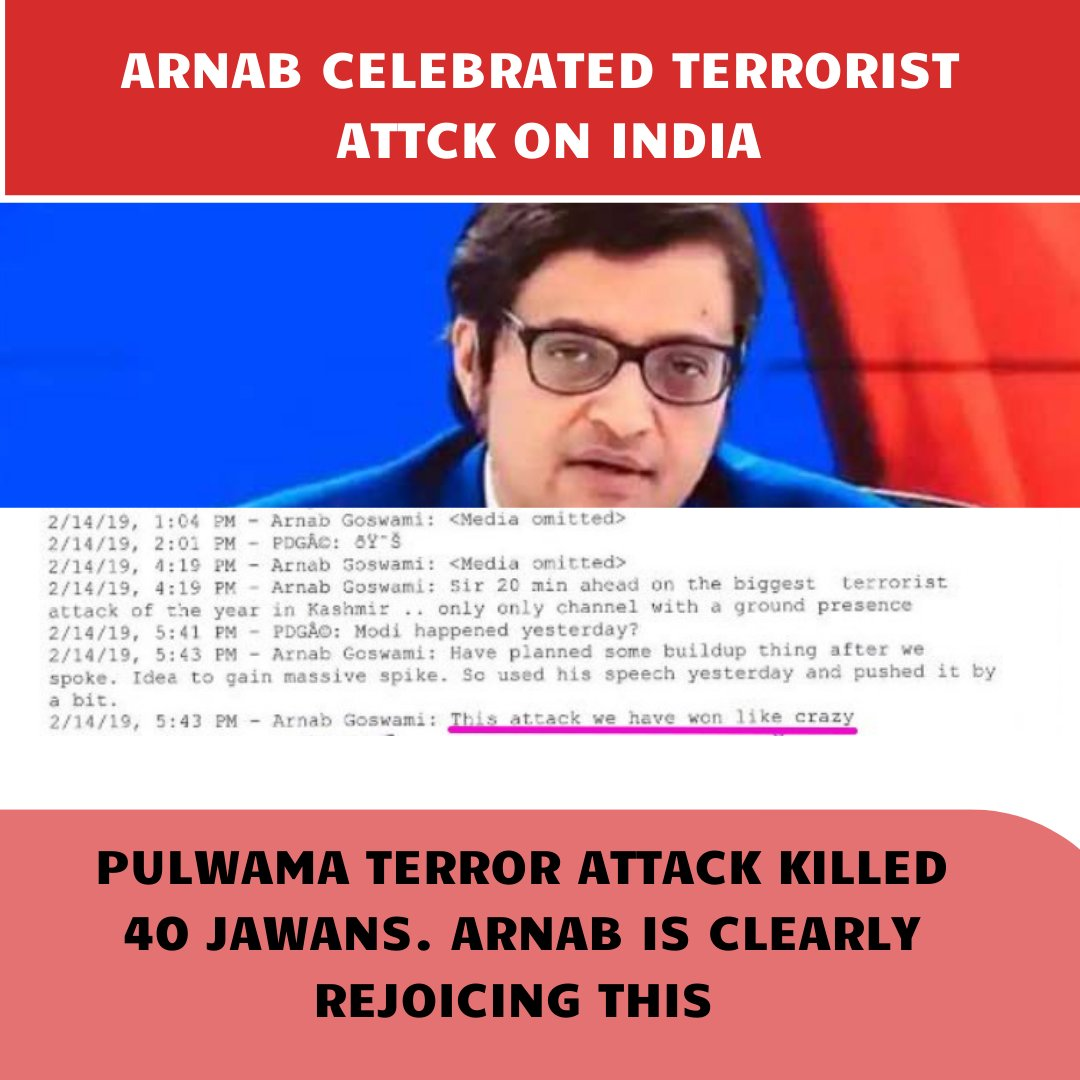 ARNAB GOSWAMI is the biggest anti-national.   40 JAWANS died in a terror attack and he said it's a victory for him.  #ArnabGate #ArnabGoswami https://t.co/JS8FOicKZX