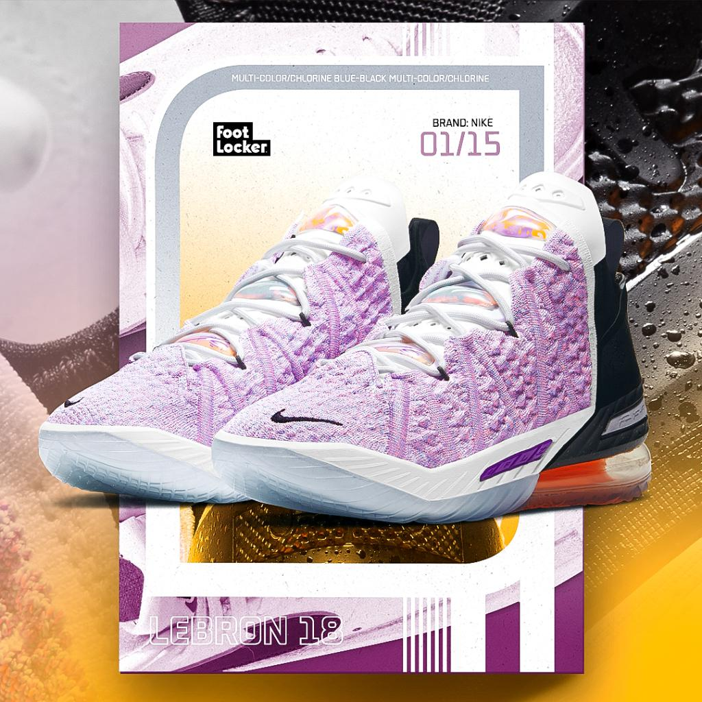 Explode on the court in the all-new #Nike Lebron 18 'Multicolor' . Available online and in select stores.  Shop: