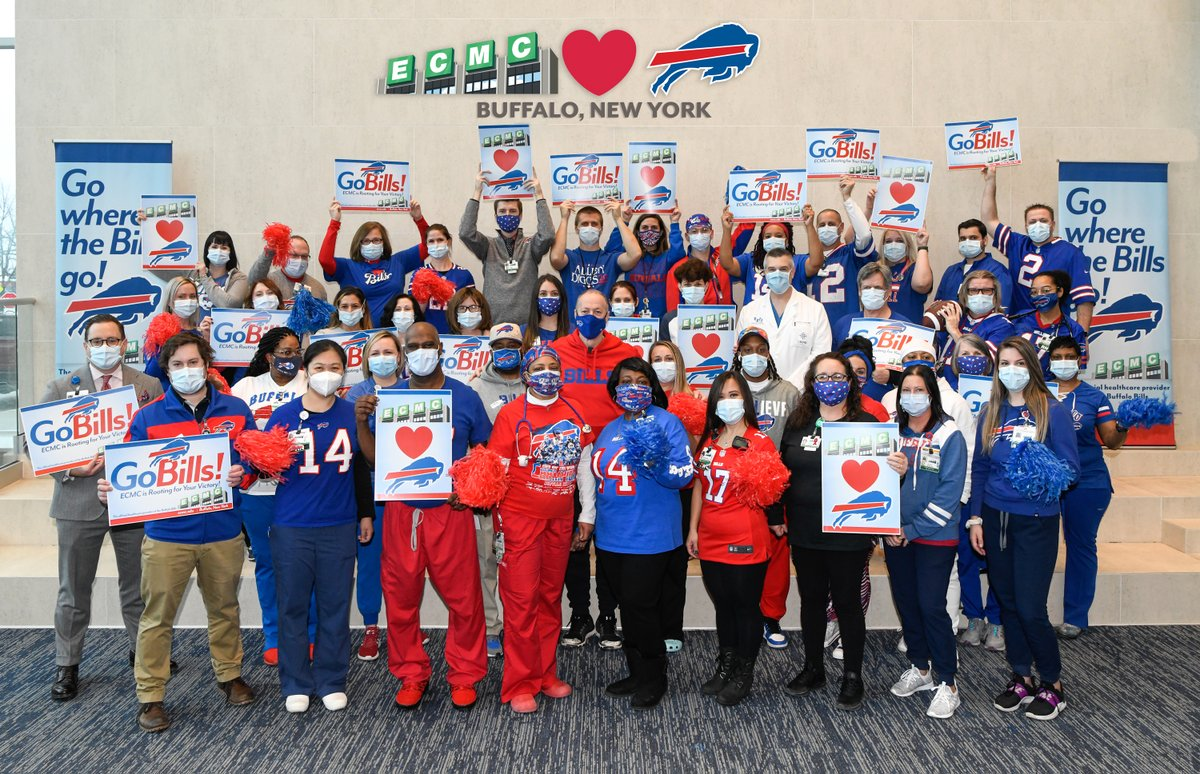 Front line heroes at @ECMCBuffalo and @JimKelly1212 are ready to cheer on their @BuffaloBills tomorrow night on NBC! #DivisionalRound