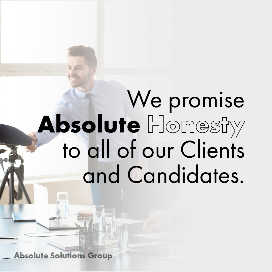 As the week comes to a close, we'd like to cover another value in our #AbsolutePromise to Clients and Candidates - Absolute #Honesty. (thread)
