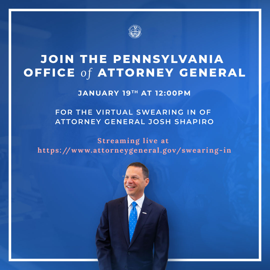 Just a few days away!   Watch live as I'm sworn in as your Attorney General, celebrate what my Office has accomplished over the last four years, and get ready for the work to come.