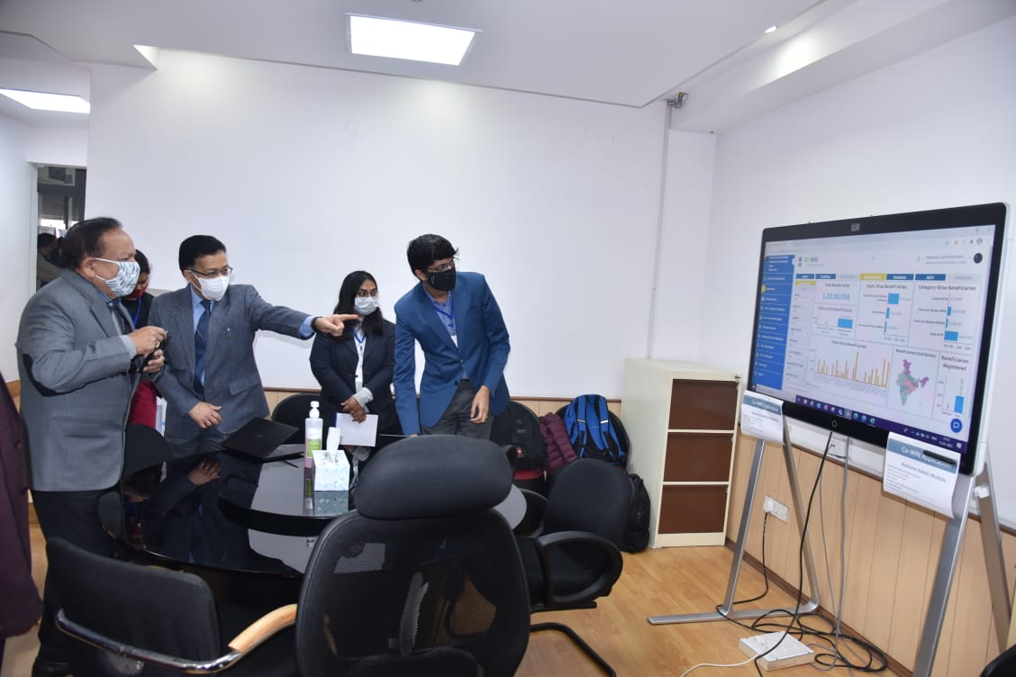 Health Minister @drharshvardhan reviews preparations for the launch of the nationwide #COVID19 vaccination drive scheduled to begin tomorrow.   Union Minister visits the Dedicated COVID Control Room which has been set up at the Nirman Bhawan premises of Health Ministry.