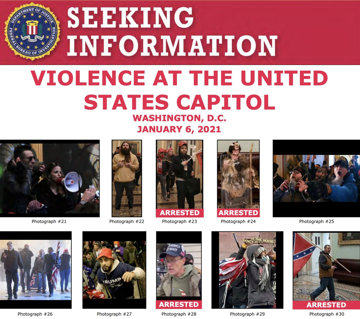 Thanks for your tips! The #FBI has arrested multiple people in connection with the violence at the U.S. Capitol last week. We need your help to identify more individuals at . If you know someone on these posters, submit a tip at .