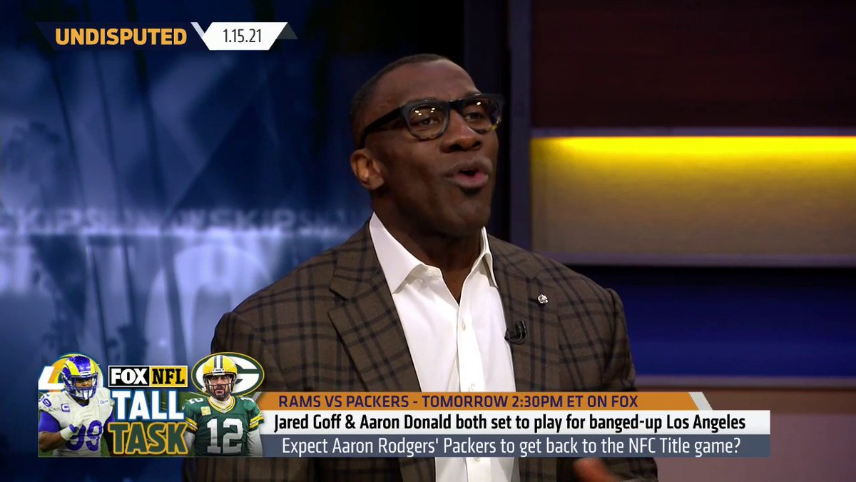 """.@ShannonSharpe gives his prediction for the Packers & Rams matchup:  """"When I look at the Rams, I trust everything about them except the guy that's going to have the ball in his hands and that's Jared Goff. He's a turnover & accident waiting to happen. I have the Packers 27-17."""""""