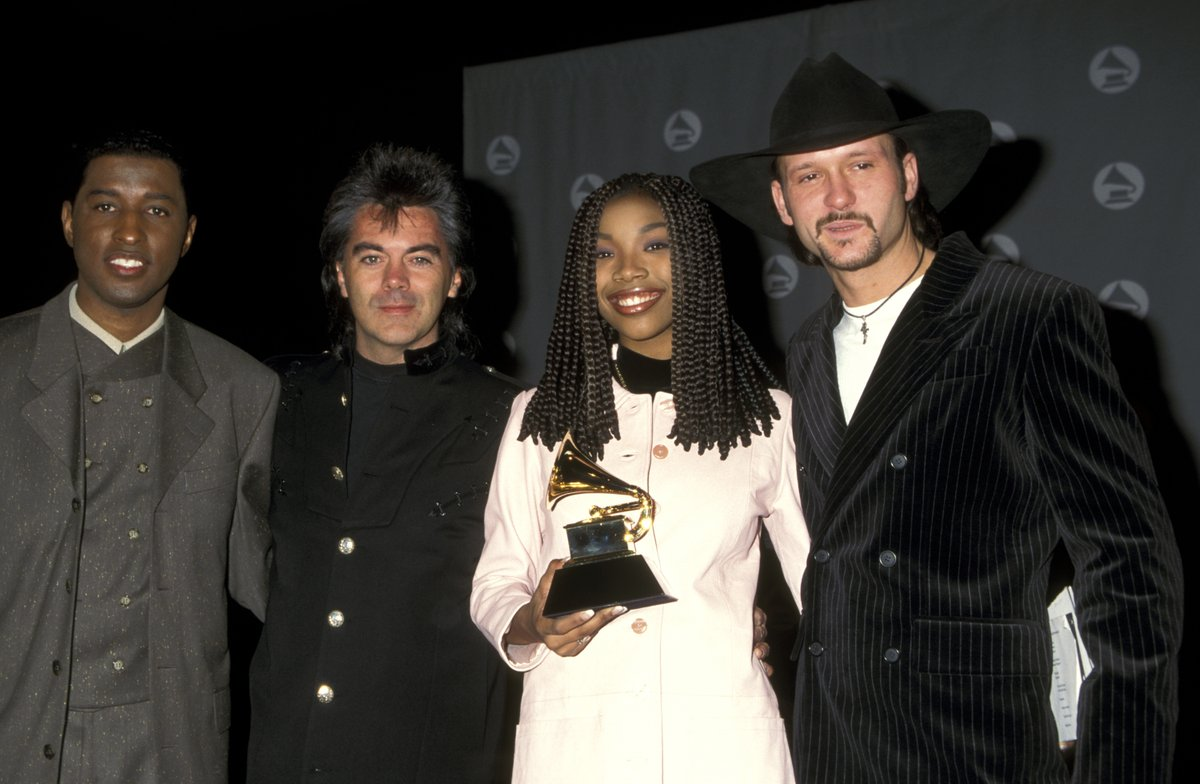 Music brings people together. 🖤🎵  @KennyEdmonds, @martystuarthq, Brandy (@4everBrandy) and Tim McGraw (@TheTimMcGraw) at the 38th #GRAMMYs.